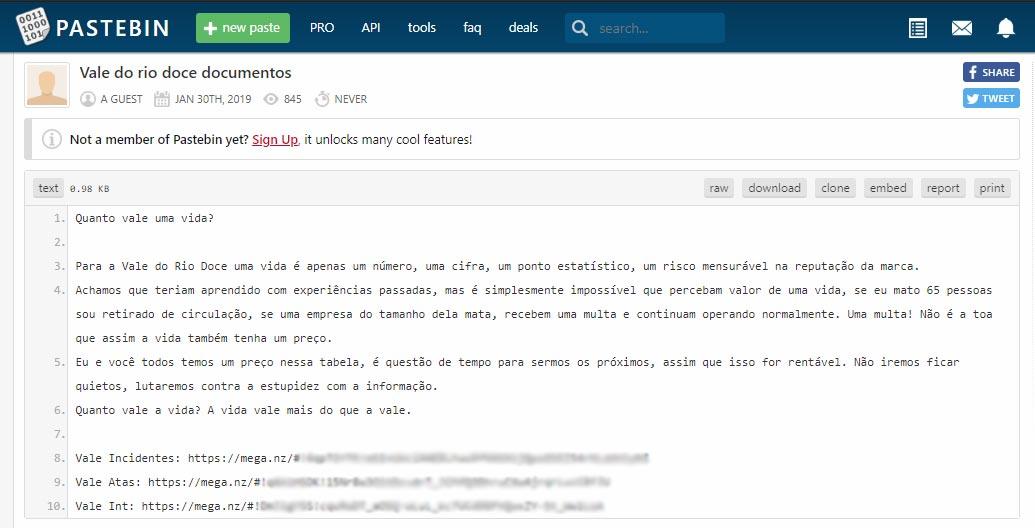 Vale tem documentos de uso interno vazados por hackers | Security Report